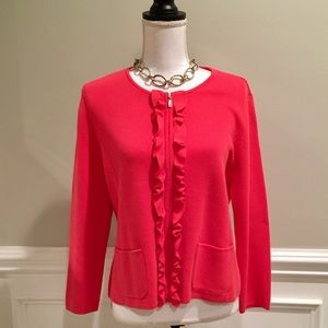 NWOT Talbots ZIP Cardigan with Ruffles size MP